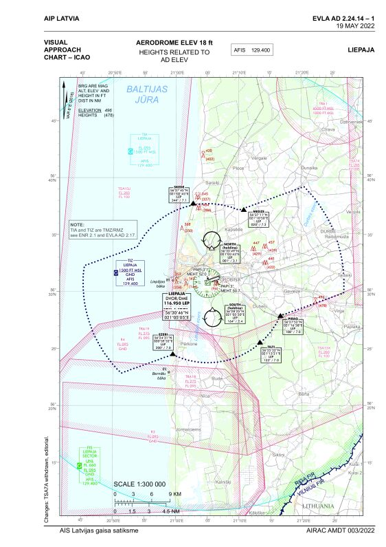 Visual approach chart, Liepaja (EVLA)