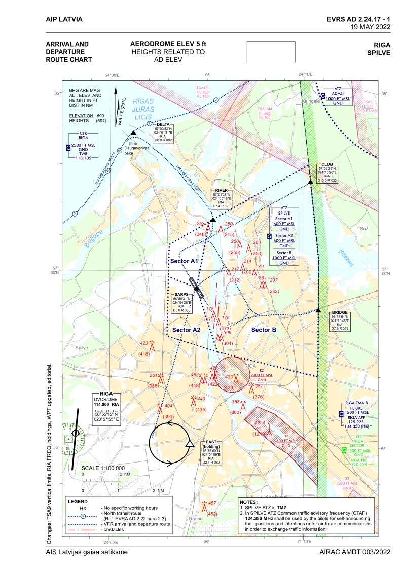 Arrival and departure route chart, { SPILVE } (EVRS)